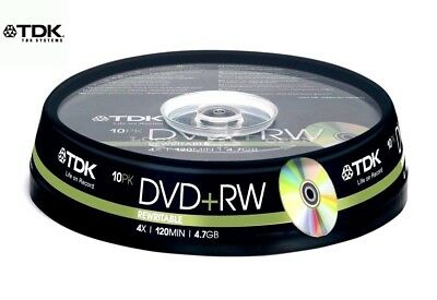TDK DVD+RW 4.7GB 4x Speed 120min Rewritable DVD Discs Spindle Pack 10 (T19524)