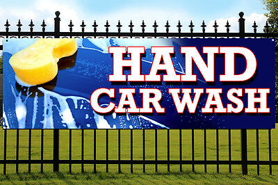 HAND CAR WASH PVC Banner Outdoor/Indoor Advertising Sign with Eyelets