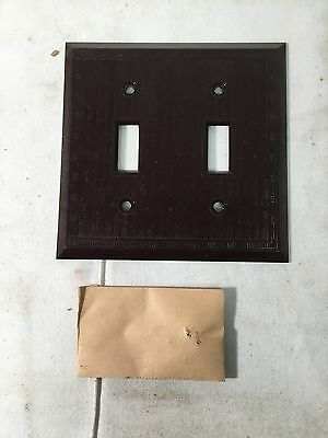Antique 2 Gang Early Vtg BROWN PLASTIC Push Button Switch Plate Cover NOS w/ Box