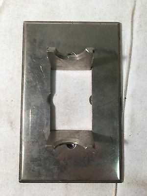 Antique Bryant Nickel HINGED Gang Vtg Brass Push Button Switch Plate Cover RARE