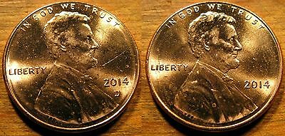 2014 P D Lincoln Shield Cent 2 BU Coin Set From String & Son Rolls