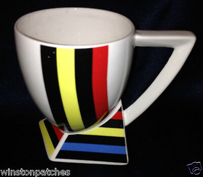 Fujimori Japan Kato Kogei Alpha 3 Mug 10 Oz Red Blue Yellow Black Stripes