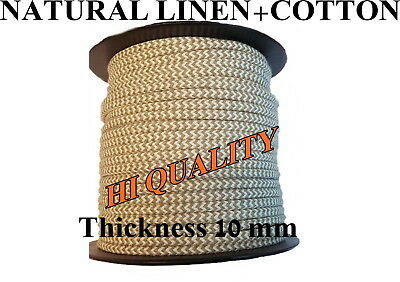 Linen and Cotton Rope Line Hemp Natural Craft Twisted Twine Braided Cord 10mm