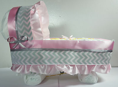 Diaper Cake Bassinet Carriage Baby Shower Gift for Girls - Pink/Silver - Large