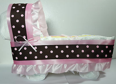 Diaper Cake Bassinet Carriage Baby Shower Gift Girls - Pink/Brown Dots - Large