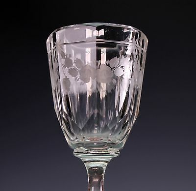 19th Century Octagonal Bowl on Baluster Stem Etched Rose Swags 4 Glasses