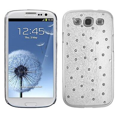 White Silver Plating Peacock Feather Phone Cover Case for Samsung Galaxy S3