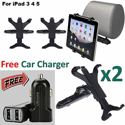"""2x Car Back Seat Headrest Mount Holder For TABLET 7-10"""" with Free Car Charger"""