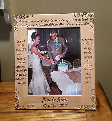 Laser Engraved Wedding Picture Frame 8x10 Photo
