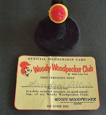 Woody Woodpecker Club Ring and Membership Card 1960