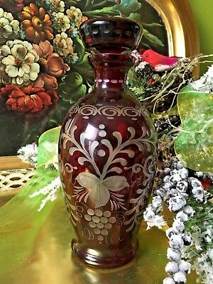 """Bohemian Love Song"" 1900s Czech Ruby Glass Stoppered Flask  Crystal"