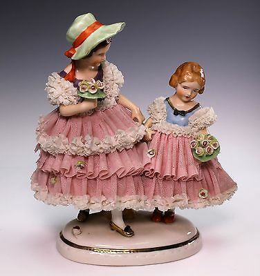 """Dresden Art Young Girls 7 1/2"""" Tall Lace Figurine Figural Group"""