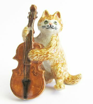 Miniature Porcelain Hand Painted Cat Figurine - Ginger Tabby with Cello