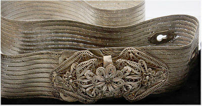 Antique Ottoman Turkish Silver Filigree Belt Circa 1840
