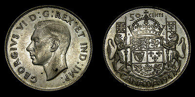 1947 Canada 50 Fifty Cent Piece George VI VF-25