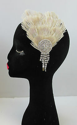 Silver & Bleached Peacock Feather Fascinator Headband Vintage 1920s Flapper V88