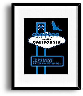 HOTEL CALIFORNIA The Eagles Band Poster Song Lyrics Art Print Music Gift