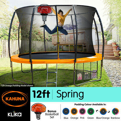 12ft Round Trampoline Safety Net Spring Pad Cover Mat Ladder Free Basketball Set