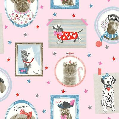 Arthouse Hall Of Fame Picture Frame Animal Cat Dog Glitter Wallpaper Cream Pink