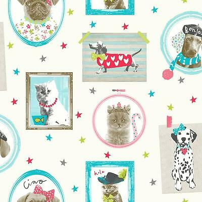 Arthouse Hall Of Fame Picture Frame Animal Cat Dog Glitter Wallpaper Cream Multi