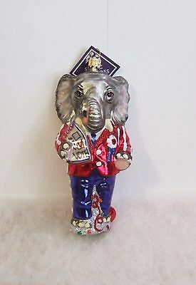 Slavic Treasures Ornament Campaigning Elephant Republican Hand Blown Glass S1 12