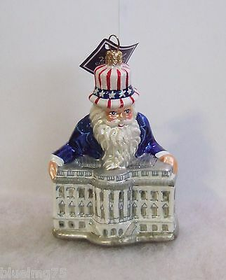 Slavic Treasures Ornament White House Santa Hand Blown Glass Poland (S1 &12)