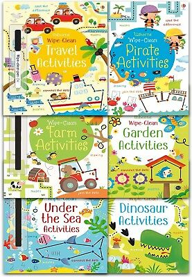 Usborne Wipe Clean Activities Collection 6 Books Set With Marker Pen Dinosaur