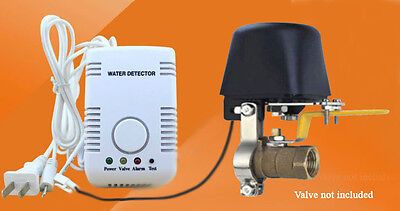 Water heater leak detector electric shutoff valve.
