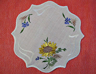 """Vintage Sunflowers Cut Embroidery White Yellow Green Round Coaster Doily 11"""""""