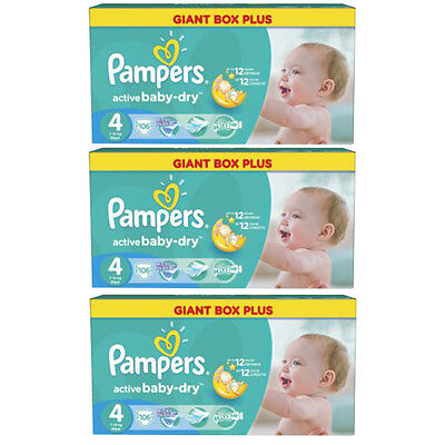 Pampers Active Baby Dry Maxi Windeln Gr.4 7-14kg Sparpack 106-318 Stk. Monatsbox
