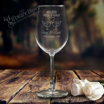 5x Engraved 350ml Wine Glasses Gift Boxed Personalised Bridesmaid Wedding Favour