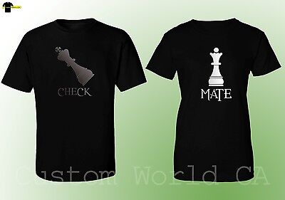 Couple Matching Love T-Shirts - CHECK MATE - His and Hers New Design Love Shirts