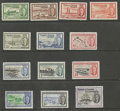 Turks & Caicos Is Sg221-33 The 1950 Gvi Set Of 13 Fine Mounted Mint Cat £85