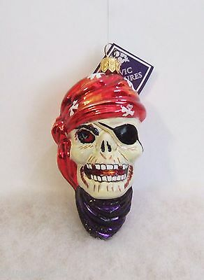 Slavic Treasures Ornament Davey Bones Skeleton Pirate Hand Blown Glass Poland S6