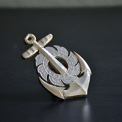 Old Vintage Metal Anchor Gear Front Car Badge Military Maritime Nautical Navy