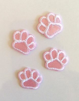 PINK PUPPY DOG (LOT OF 4)CAT ANIMAL PAW PRINT�� Sew/ Iron DIY Patch Pet Clothes
