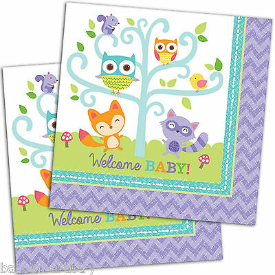 16 Forest fun Woodland WELCOME Baby Shower Party 33cm Paper Luncheon Napkins