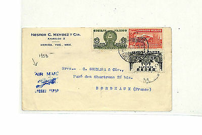 SS72 1938 MEXICO Air mail Biplane Illustrated Cachet France:  Samwells-covers