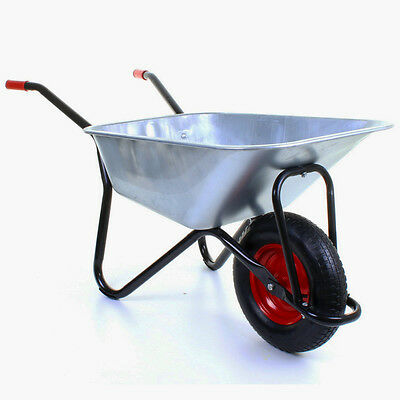 Wheelbarrow Garden Wheel Barrow Extra Large 100KG Pneumatic Tyre 100 Litre Cart