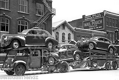 Vintage 1940 Buick  Auto Transport carrier photo Chillicothe Ohio Mail Pouch Ad