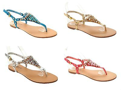 cf5f0b68a800 Womens Diamante Jewel Toe Post Summer Beach Flat Sandals Ladies Uk Size 3-8