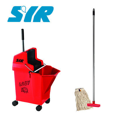 Kentucky Ladybug professional mop bucket set by SYR CW handle and x1 head RED