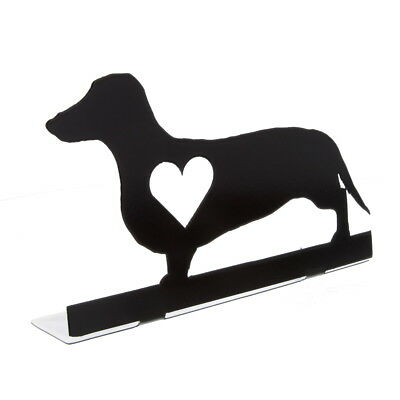 Dachshund Dog Heart Silhouette Metal Tabletop Sign Cutout Pet Animal Decor