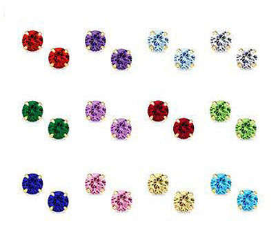 14K Yellow / White Gold Round CZ Birthstone Stud Earrings Prong Set Push Back .