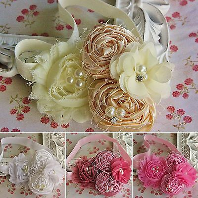 Bridal Wedding Christening Girl Baby Headband Flowers Roses Rhinestone Pear Veil