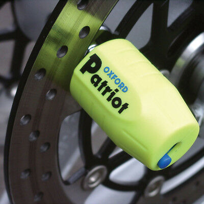 Oxford Patriot Motorcycle Motorbike Ultra Strong Long Pin Disc Lock | Yellow