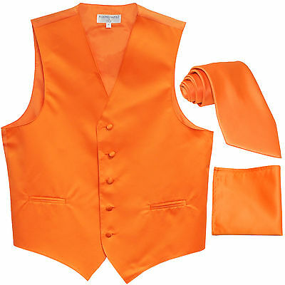 New Men's Orange formal vest Tuxedo Waistcoat_necktie & hankie set wedding