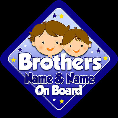 Personalised Brothers On Board  Brown Hair Baby/Child on Board Car Window Sign