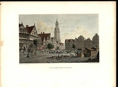 Market Place Hamburg Germany 1887 antique engraved scenic color print