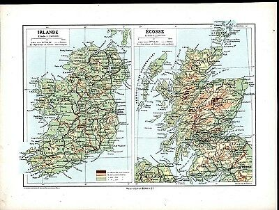 Ireland & Scotland Northern England Ulster 1911 antique color lithograph map
